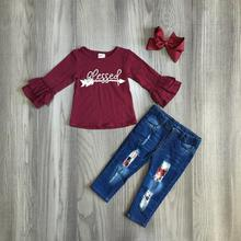 Ragazze dei bambini di Autunno vestiti delle ragazze autunno/autunno abiti freccia top con i jeans pantaloni dei capretti dei bambini boutique di abbigliamento con larco