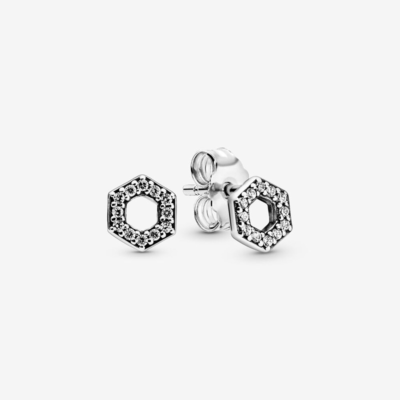 Fashion 100% 925 Sterling Silver Earrings Sparkling Honeycomb Hexagon Stud Earrings Women Sterling Silver Jewelry Gift