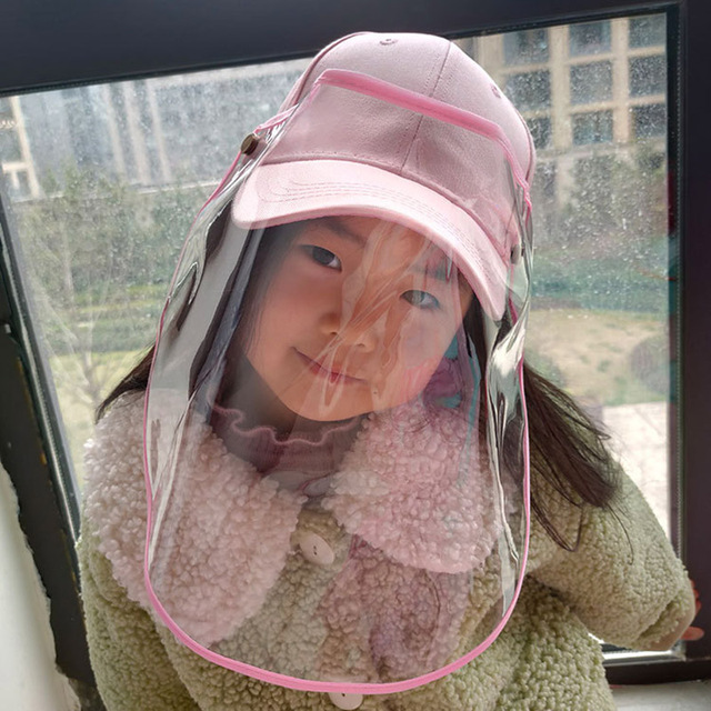 Kids Anti Saliva Baseball Hat with Removable Face Shield Mask Children Anti-Dust Outdoor Protective Mask Wind Sun Protection 1