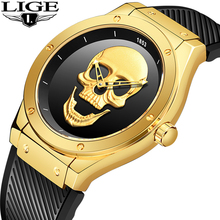 2019 Skull Watches Male Unique Design Men Watch LIGE Luxury Brand Sports Quartz Military Steel Wrist Watch Men relogio masculino xinew brand wrist watches men sports outdoor military watch mens luxury steel dial quartz watch male hours reloj relogio ni