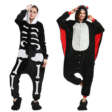 Winter Halloween Kigurumi Pajama Sets Cartoon Sleepwear Cosplay Men Women Pajama Flannel Animal Stitch Skeleton Pajama cheap COTTON Unisex Blanket Sleepers Fits true to size take your normal size 0778 Solid Children