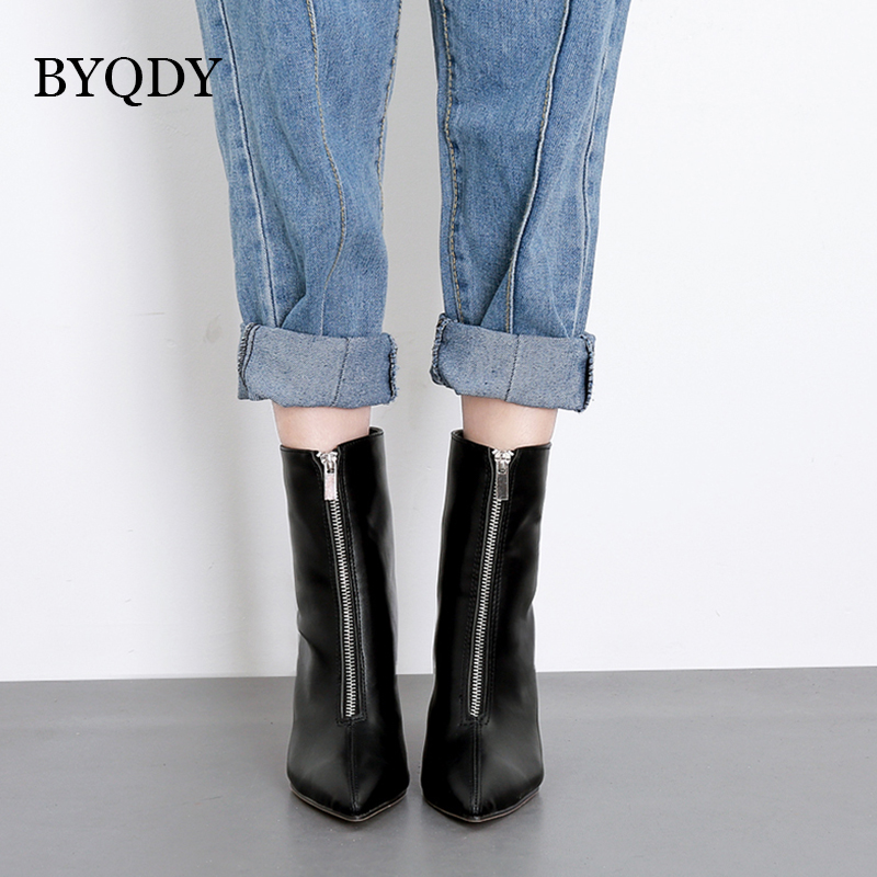 BYQDY Woman Zipper Boots Front Big Pointed Toe Botas Ankle Autumn Winter Thin High Heels Patent Leather Mother Booties