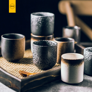 RHE 150ml 195ml styl japoński filiżanka wody filiżanka ceramika kamionkowa ręcznie malowane Kungfu filiżanka kuchni Drinkware tanie i dobre opinie Kubki do kawy CN (pochodzenie) Pod ramą ceramic