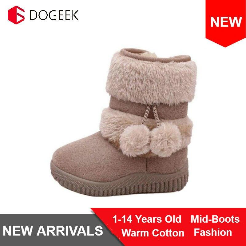 Dogeek inverno meninas botas de algodão da criança crianças botas de neve antiderrapante crianças menina mais grosso sapatos de pele do bebê sapatos quentes botas clássicas
