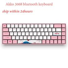 Original AKKO 3068 World Tour Tokyo Bluetooth Mechanical Gaming Keyboard 68 Keys 85% PBT Computer Gamer Type C akko 3084 v2 ocean star 84 key mechanical game keyboard pbt keycap usb 2 0 type c wired side letter caverd design gaming keyboard pink shaft