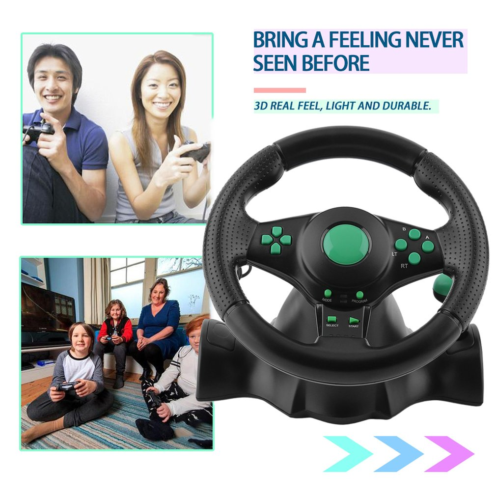 180 Degree Rotation Gaming Vibration Racing Steering Wheel With Pedals For XBOX 360 For PS2 For PS3 PC USB Car Steering Wheel