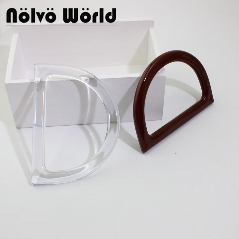 1-5 Pairs,12X8.5cm Transparent Coffee Plastic Purse Handle,transparent Handbag D Handle,women Crochet Bag Plastic Handles