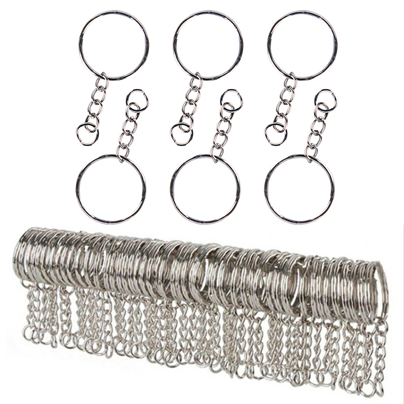 10/20/40/60Pcs 25mm Stainless Key Chains Silvery Alloy Circle DIY Keyrings Jewelry Keychain Making Jewelry Accessories