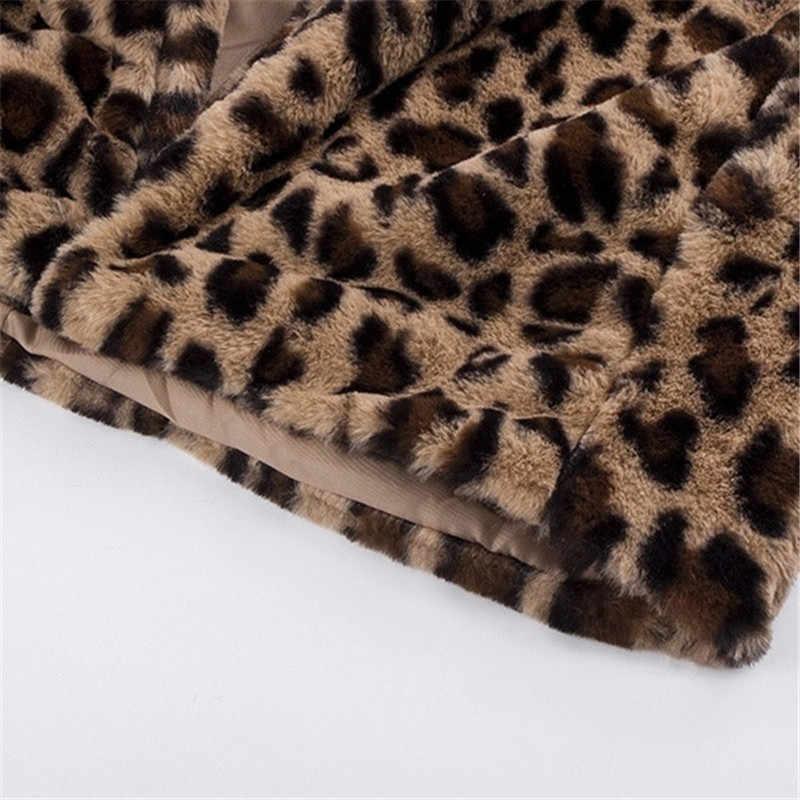 毛皮のコート女性の冬 2020 プラスサイズヒョウフェイクふわふわ髪のジャケット毛皮カーディガンフェイクファーコート暖かいロング毛皮コート岬女性