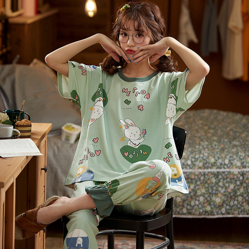 JULY'S SONG Woman Cotton Summer Pajamas Set 2 Pieces Short Sleeve Cute Cartoon Rabbit Alphabet Sleepwear Casual Pajamas Homewear