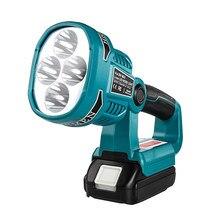 Wakyme 4 modos de luz de trabalho 18/14.4v sem fio led lanterna com usb ao ar livre holofotes luz para makita dml812 sem bateria
