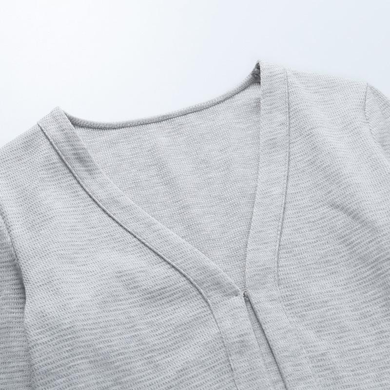 Осенняя однотонная Базовая вязаная рубашка с длинным рукавом