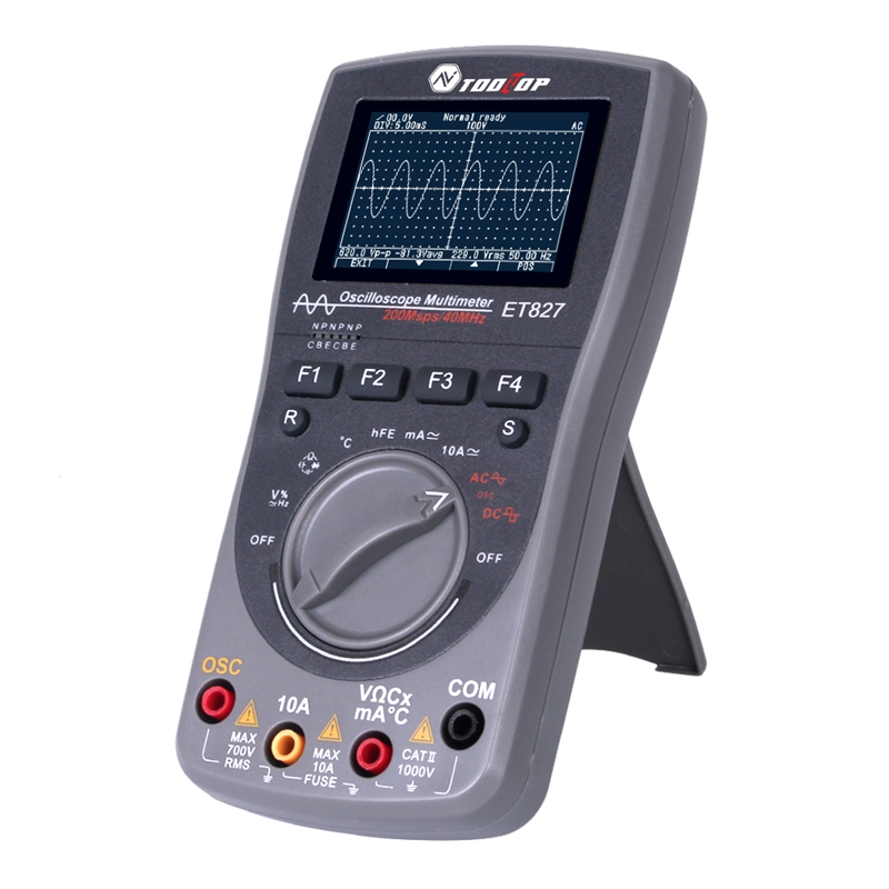 2in1 Digital 40MHz 200Msps/S Oscilloscope 6000Counts True RMS AUTO Multimeter Analog Grap Waveform Tool LCD Portable Scopemeter