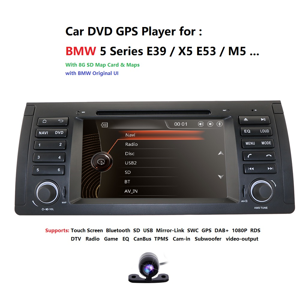 <font><b>2Din</b></font> 7'' Car DVD Multimedia Player Head Unit For BMW E53 E39 X5 GPS Navi RDS SD USB Steering wheel control Mirror-Link Bluetooth image