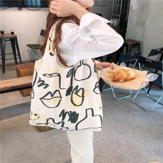 Japanese INS Beige Canvas Hobo Bag Cartoon Graffiti Pattern Half Moon Shoulder Bag Casual eco friendly Shopping Bag Girls Purse 3