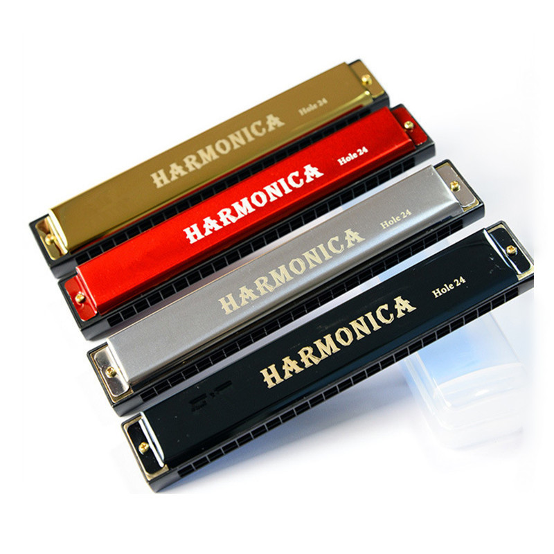 Professional 24 Holes Harmonica C Key Metal Harmonica Woodwind Instrument For Beginners With Box 4 Color Dropshipping