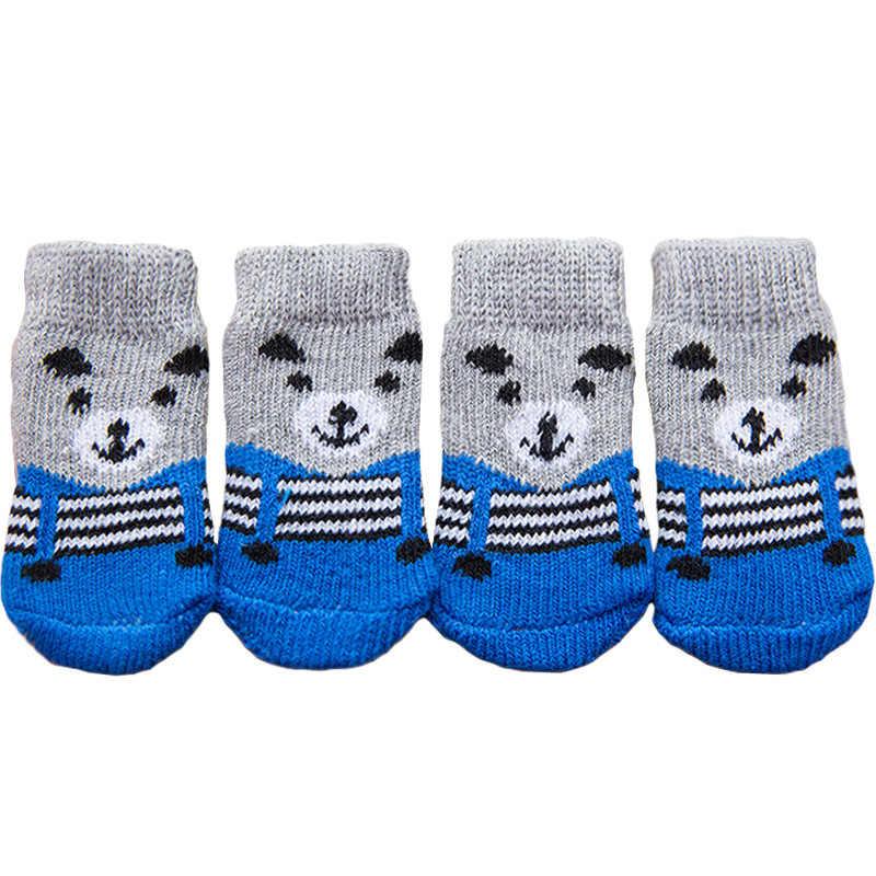 4 sztuk cute cartoon skarpetki dla zwierząt psy domowe dzianiny skarpetki antypoślizgowe Skid dół ciepłe buty dla szczeniaka są miękkie i oddychające S/M/L