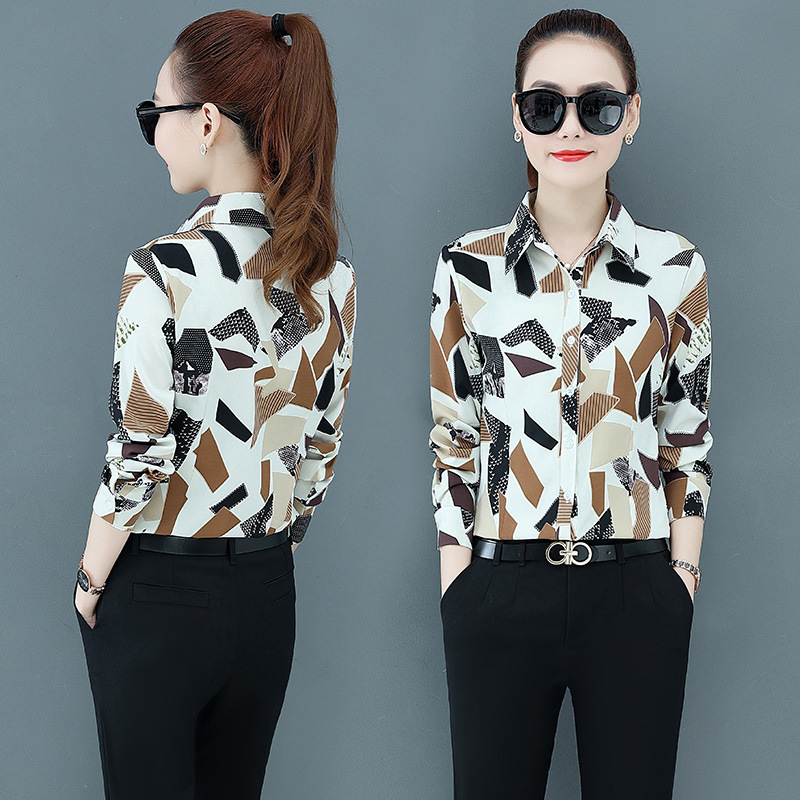 Korean Fashion Chiffon Women Blouses Plaid Vintage Long Sleeve Office Lady Shirt and Blouse Plus Size XXXL/5XL Womens Tops