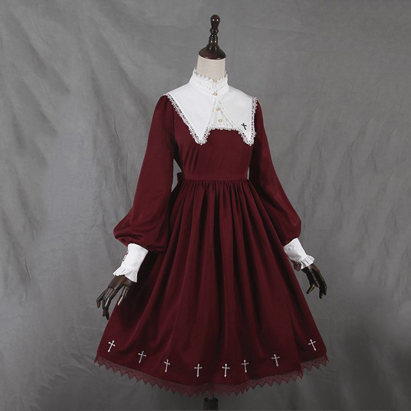 Imily Bela Vintage Gothic Lolita A-line Dress High Collar Lantern Sleeve Print Shirt Dress High Waist Plus Size Vestidos