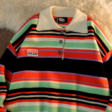 Japanese Preppy Style Vintage Hit Color Striped Pullover Sweaters Korean Streetwear Turn-Down Collar Jumpers Harajuku Sweaters