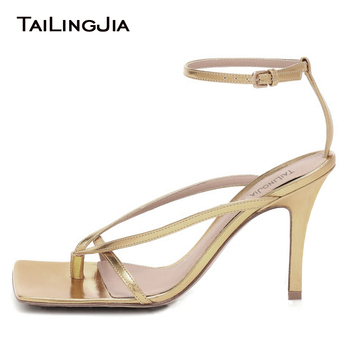 Square Toe High Heel Thong Sandals for Women 2020 Gold Summer Shoes Woman Ladies Heeled Party Dress Footwear Ankle Strap Sandal