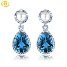 Natural Topaz Sterling Silver S925 Drop Earring for Women 2.9 Carats Dark Blue Topaz Freshwater Pearl Design Birthday Gifts