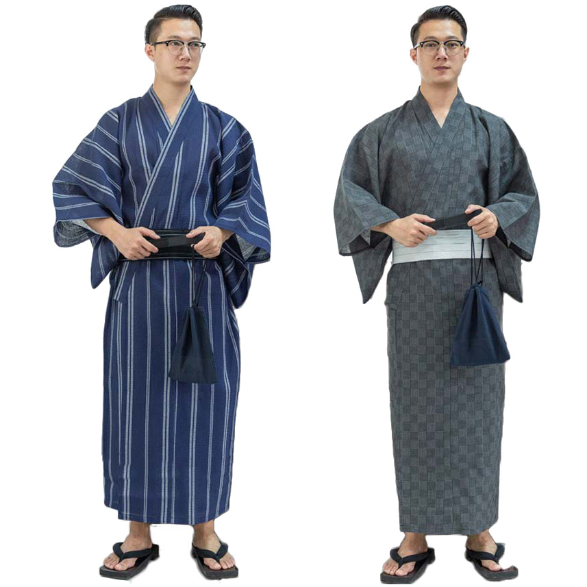 Asian Traditional Japanese Costumes Men New Year Kimono Jinbei Sleepwear Spa Sauna Thin Cotton Yukata Long Bath Robe Gown