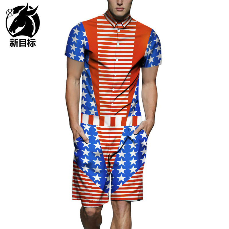 Stars And Stripes Mock Two-Piece 3D Printed Onesie Hot Selling Amazon 2019 Summer New Style Shirt Bib Overall MEN'S Short Sleeve