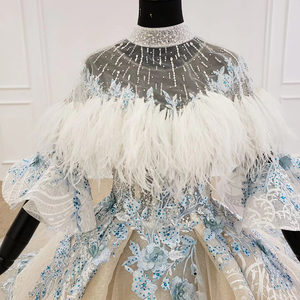 Image 4 - HTL1112 Special Colorful Luxury wedding dress 2020 Cape Feather Half Sleeve Appliques Bridal Dress Gown