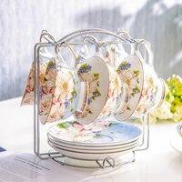 European Coffee Cup Sets Bone China Luxury Porcelain Tea Cup and Saucer Coffee Tazas Ceramica Japanese Home Drinkware QAB50BD