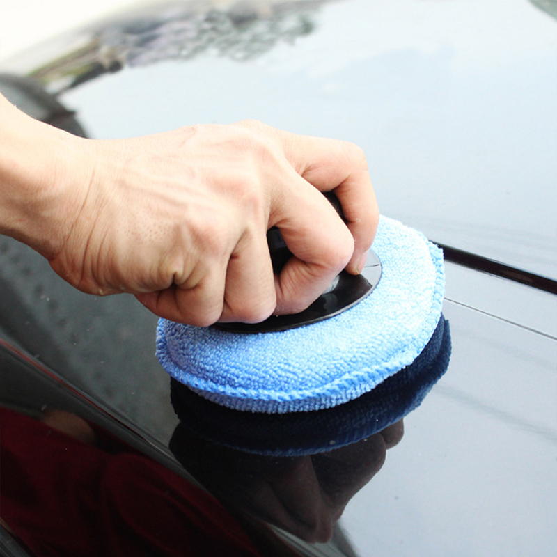 Car Wax Applicator Soft Microfiber Cotton  Pad Polishing Sponge Apply And Remove Wax Auto Care Round Sponge With Handle