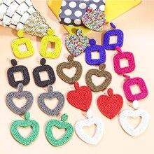 Itenice Jewelry 2019 Bohemian Beaded Earrings For Women Girls Colorful Heart Statement Drop Dangle Earrings Women Earring beaded chain colorful fuzzy ball drop earrings