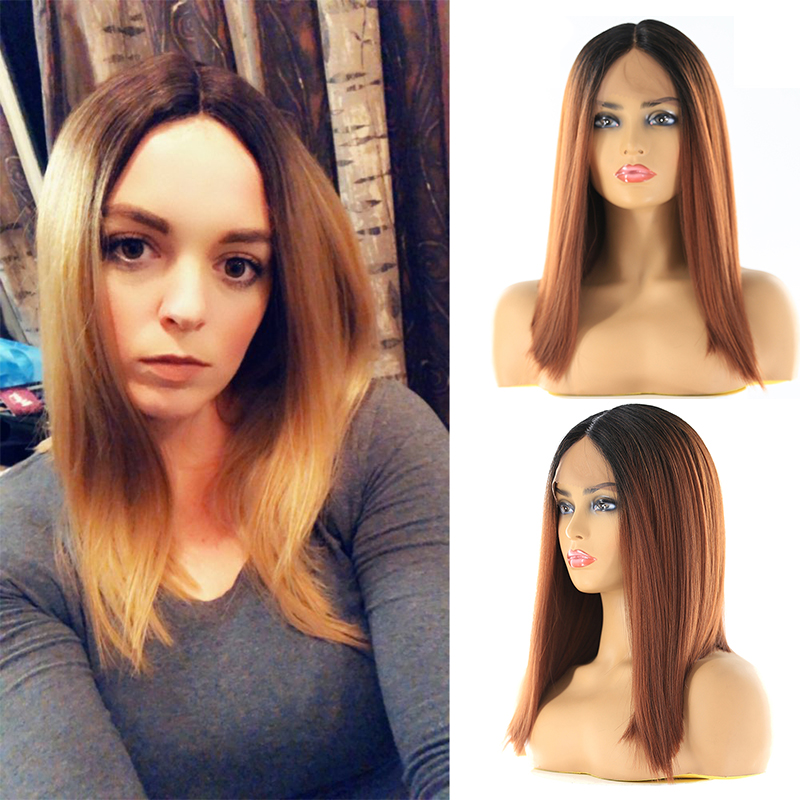 Ombre Green Blue Color Synthetic Lace Front Wigs For Black Women X-TRESS Yaki Straight Blunt Short Bob Lace Wig Middle Part