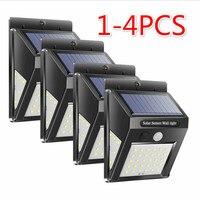4 шт. 30/50 светодиодный светильник на солнечной энергии, энергосберегающий уличный садовый двор, безопасный PIR датчик движения, настенный све...