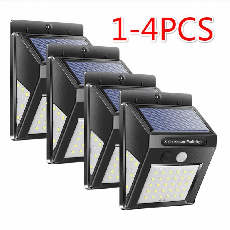 4pcs 30/50 LED Solar Power Lamp  Saving Street Garden Yard Security  PIR Motion Sensor Wall Light Outdoor Waterproof Energy Lamp
