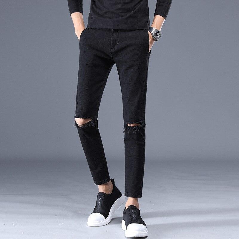 New Style Elasticity MEN'S Jeans Men'S Wear Capri Pants Korean-style Slim Fit 9 Points MEN'S Jeans 786