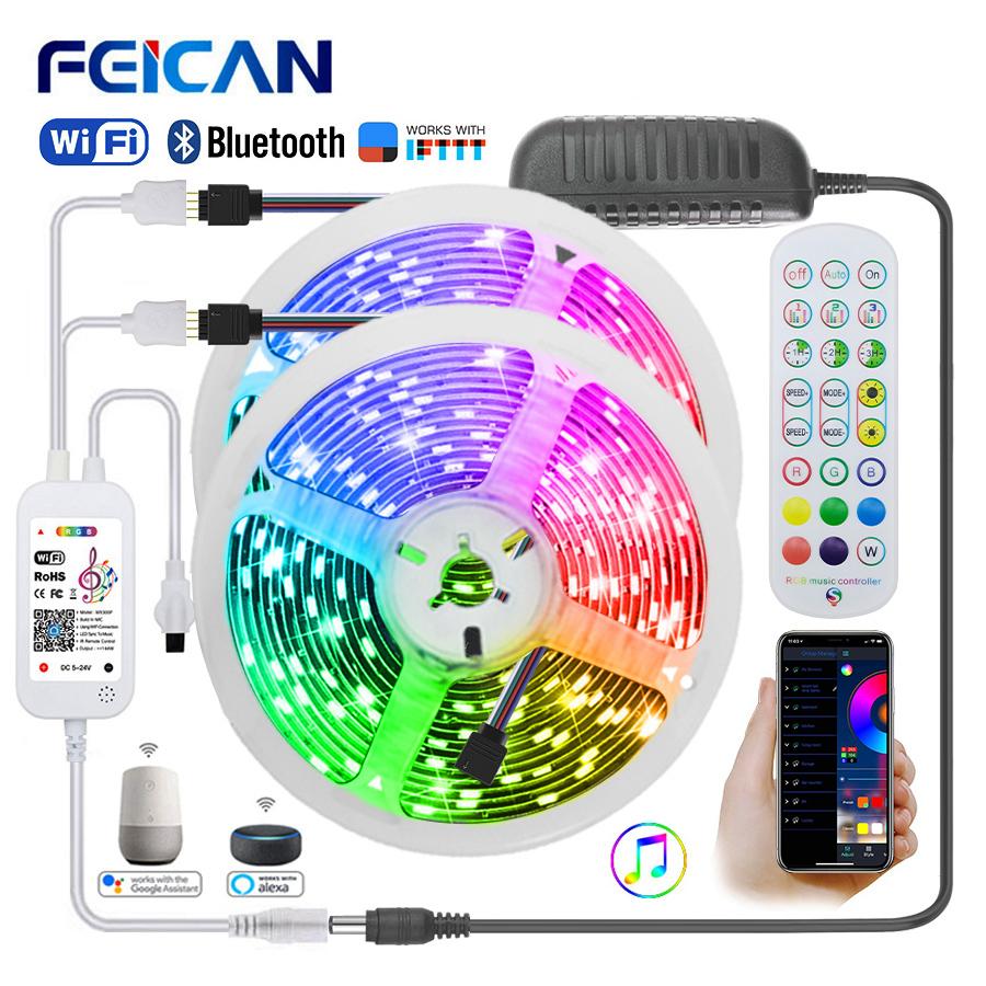 WiFi LED Strip 5M 10M 20M Bluetooth 12V Waterproof RGB Tape Works with Alexa Flexible Lights Neon Ribbon
