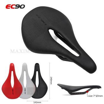 EC90 Bicycle Carbon+Leather Saddle Saddle Bike Saddles Carbon Saddle Black Road MTB Bike / Steel Saddle Rail Bicyle Cycling