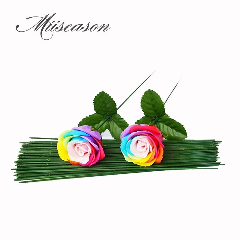 25 шт./лот стебли для цветов/Пластиковая Зеленая Цветочная лента, железная проволока, искусственные стебли для цветов, ручной декор, стволы д...