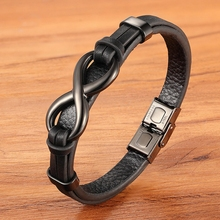Stainless Steel Leather Bracelet Infinity Logo Special Popular Pattern Men's Bracelet DIY Size Valentine's Day Handsome Gift