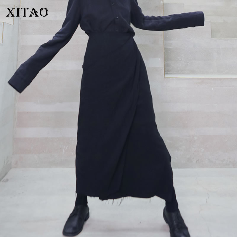 XITAO High Waist Slim Skirt Women Fashion Irregular Pleated Black Patchwork 2019 Autumn Elegant Street Style Midi Skirt GCC2091
