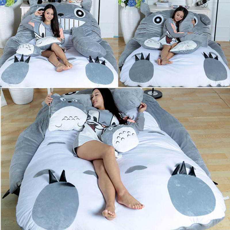 Folding Lazy Sofa Bed Adult Velvet Soft Super Warm Cartoon Cute Thicken Bed For Girls Child Beds With Pillow Bedroom Furniture 1