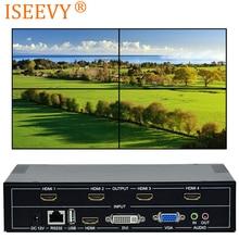ISEEVY 4 канала видео настенный контроль Лер 2x2 HDMI DVI VGA USB видео процессор с RS232 управление для 4 ТВ Сращивание