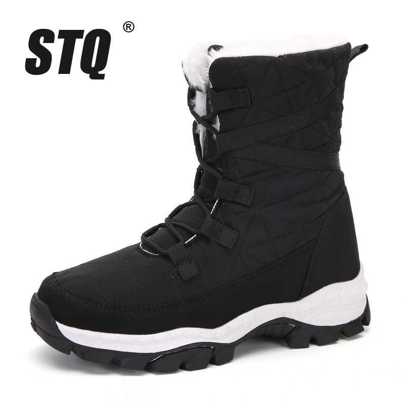 STQ kadın kış kar botları bayanlar su geçirmez siyah çizmeler kadın orta buzağı botları ayakkabı kadınlar sıcak peluş bot ayakkabı TF19122