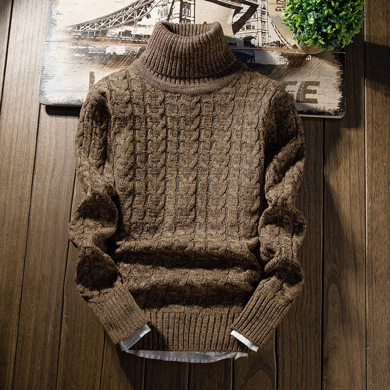 Mens Turtleneck Sweater Loose Long Sleeve Pullovers Knitted Warm Winter Pullover Fashion Retro Male Tops