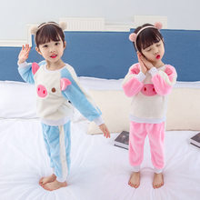 Animal Pig Cartoon Character Pajamas For Kids Flannel Set Winter Baby Children Thick Warm Fleece Coat Pants 2PCS