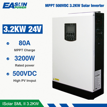 Easun電源ソーラーインバータ24v dcに230Vac 24ボルトmppt 3.2Kw 24 24vハイブリッド80Aバッテリーなしで実行オフグリッドインバータ充電器