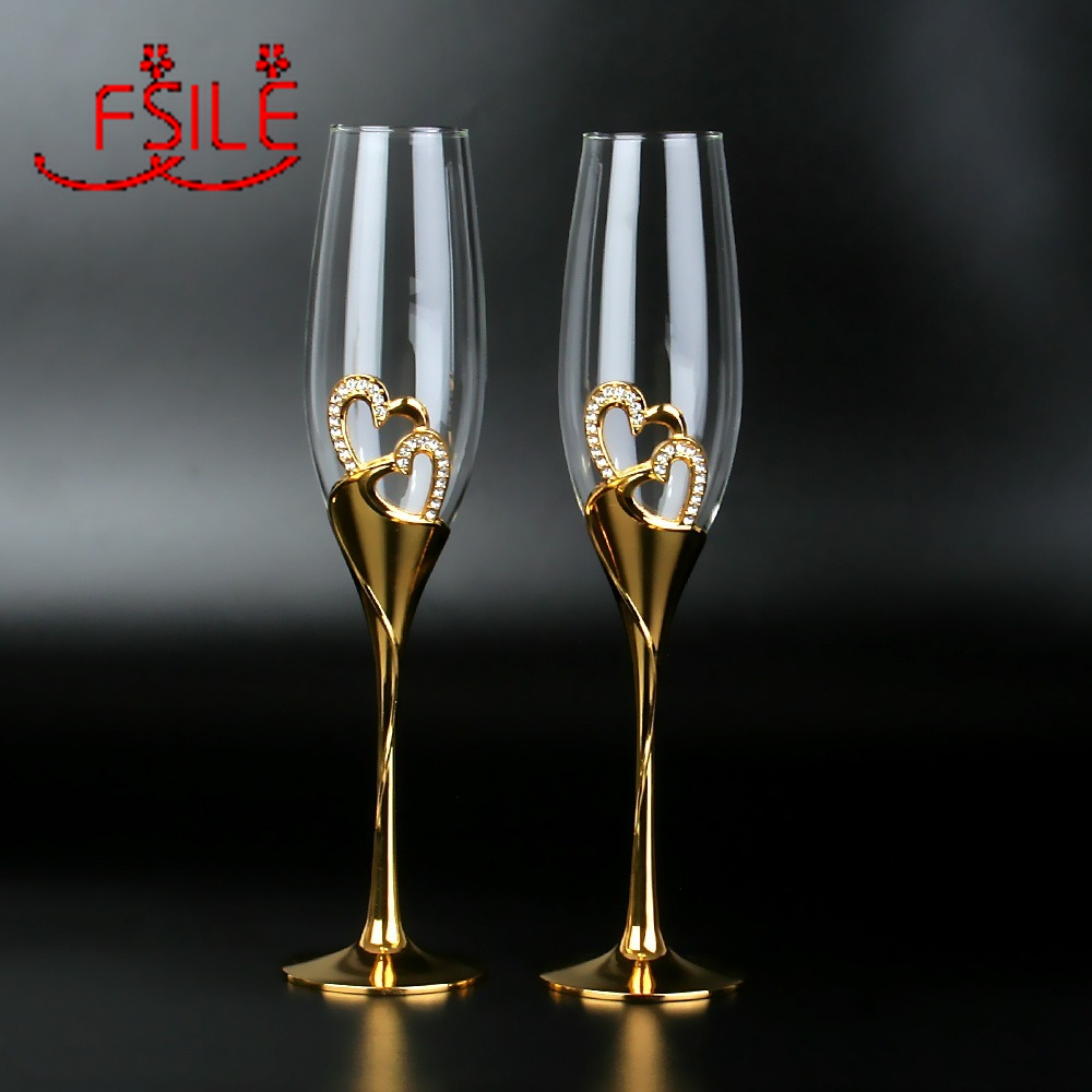 300ML Crystal Champagne Glass Wedding Goblet Couple European Style Household Sparkling Sweet Wine Glass Gold Pair of Glasses