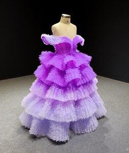 Image 3 - Robe de soirée jancembre pour filles, robe de soirée pour filles, violet, col en V, manches cape, J66905, 2020