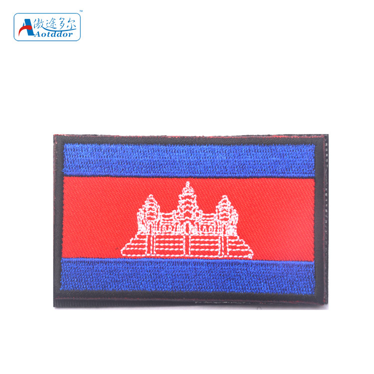Ao Tu Duo Er Embroidered Velcro Flag Chapter Cambodia Flag Shoulder Emblem